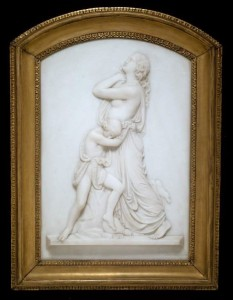 (fig.6) Edward Sheffield Bartholomew (1822-1858) Hagar and Ishmael, Rome 1856, marble, 28 x 19 5/8 in., Art Institute of Chicago.