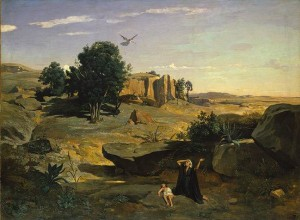 (fig. 1) Camille Corot (1796-1875) Hagar in the Wilderness, 1835, oil on canvas; 71 x 106 1/2 in.