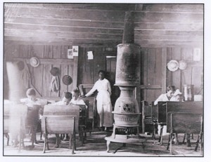(figure one) Interior African American Schoolhouse, 1900 Virginia Historical Society's exhibition: the Civil Rights Movement in Virginia, 2004, Web site: http://vahistorical.org/civilrights/education.htm#images Library of Congress, Prints and Photograph Division, Washington D.C. USA.