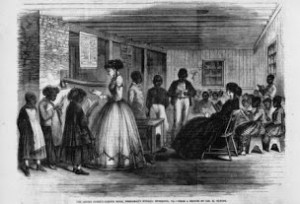 (Figure Two) The Misses Cooke's Schoolroom, Freedman's Bureau, Richmond, Virginia, 1866. Jas. E. Taylor. Illustrated in: Frank Leslie's illustrated newspaper, v.23, 1866 Nov. 17, p. 132. Library of Congress Prints and Photographs Division Washington, D.C. USA