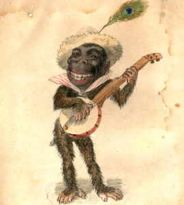 "Charles Briton, Gorilla, 1873. Costume design from Mistick Krewe of Comus' 1873 ""Missing Links"" parade."
