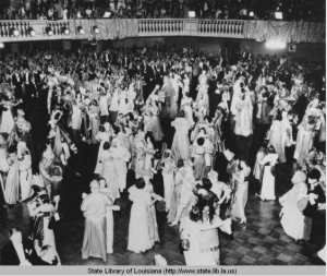 Dancing in a ballroom during Mardi Gras in New Orleans in the 1930s.