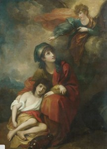 (fig.1) Benjamin West (1738-1820), Hagar and Ishmael, 1776, reworked 1803, oil, 76 x 54 ½ in., Metropolitan Museum of Art.